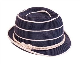 Wholesale Straw Fedora Hats - Nautical Summer Fedoras