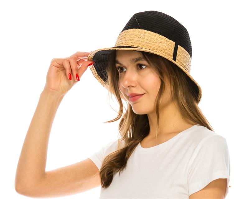 317113e0b7f936 wholesale womens hats - packable fedora hat with raffia trim