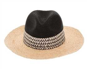 Wholesale 2-Tone Raffia Brim Panama Hat Womens Beach Hat