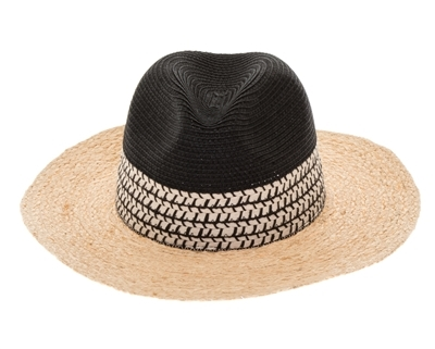 Wholesale 2-Tone Raffia Brim Panama Hat Womens Beach Straw Sun Hat