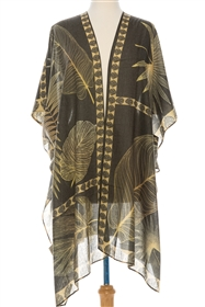Wholesale Tropical Leaves Kimono