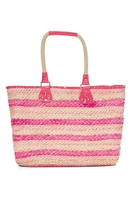 wholesale striped cornhusk tote rope handles