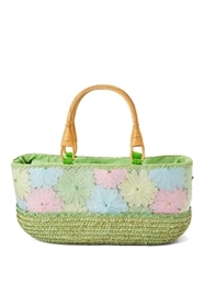 wholesale paper flower and mesh straw bag