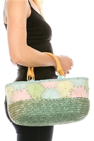 closeout wholesale straw bags - bulk straw handbags rattan handles