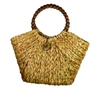 wholesale straw handbag  wood bead handles