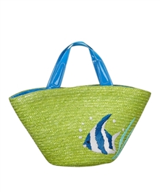 bulk straw beach bags - green wholesale straw tote bags - tropical fish embroidered bag