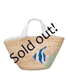 bulk straw beach bags - natural straw wholesale tote bags - tropical fish embroidery