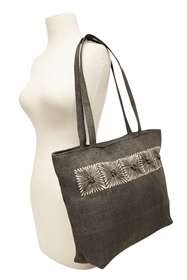 Wholesale Straw Tote Bags - Black with Sunburst Design