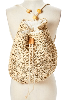 wholesale straw backpacks - festival bags - straw crochet sling boho bags