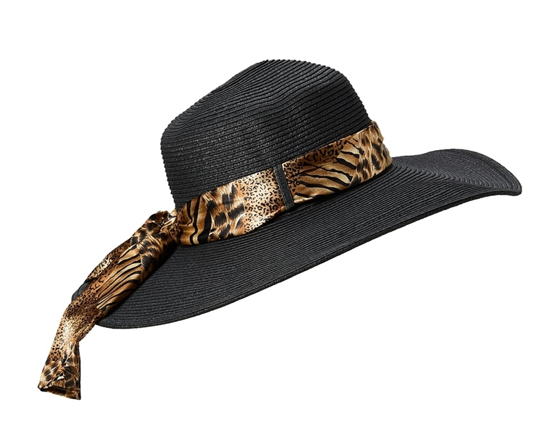 69ee0b78e6b99 Wholesale UPF 50 Wide Brim Hats - Animal Print Sash
