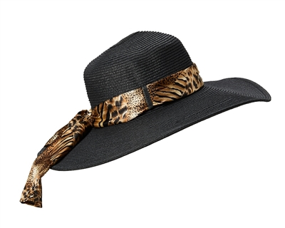 wholesale wide brim hats - animal print sash