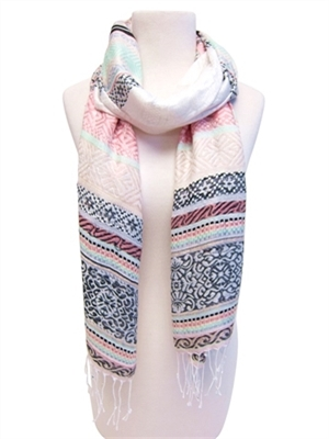 wholesale patterned stripes scarf