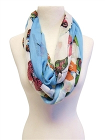 wholesale summer infinity scarves - butterflies print