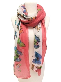 wholesale bright butterflies scarf