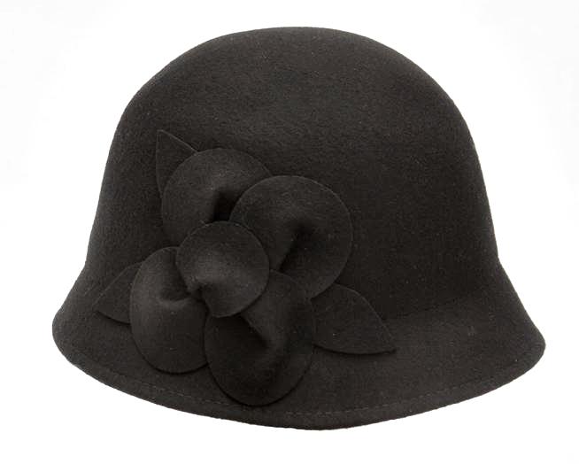 99b60640a0605 9787-1 Black Felt Cloche Hat