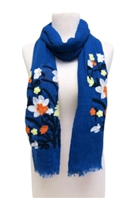 wholesale SCARF WITH FLOWER ART EMBROIDERY