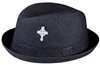 wholesale black fedora hat with cross