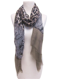 wholesale leopard and lace print scarf