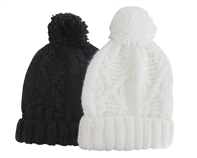 wholesale cable knit beanie  pom
