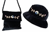 wholesale velvet hat and velvet purse set