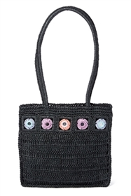 bulk black straw shoulder purses - cheap wholesale straw bags - flat