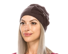 wholesale knit wool beanie  bow