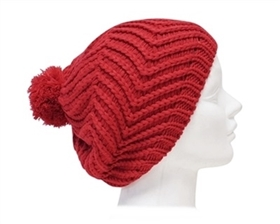 wholesale beanie with zigzags and pom