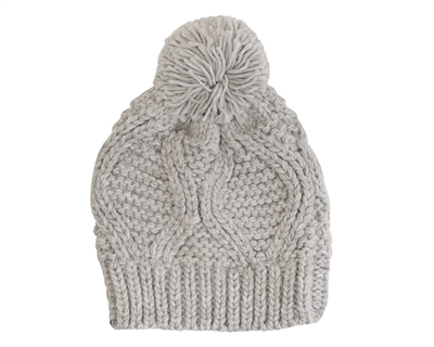 bc9eec2103 SKU: 9993. Knit pom-pom beanie with diamond knit pattern.