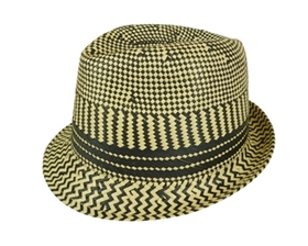 wholesale mens hats - checkered straw fedora hats