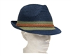 wholesale 2-tone straw fedora w/ leather band