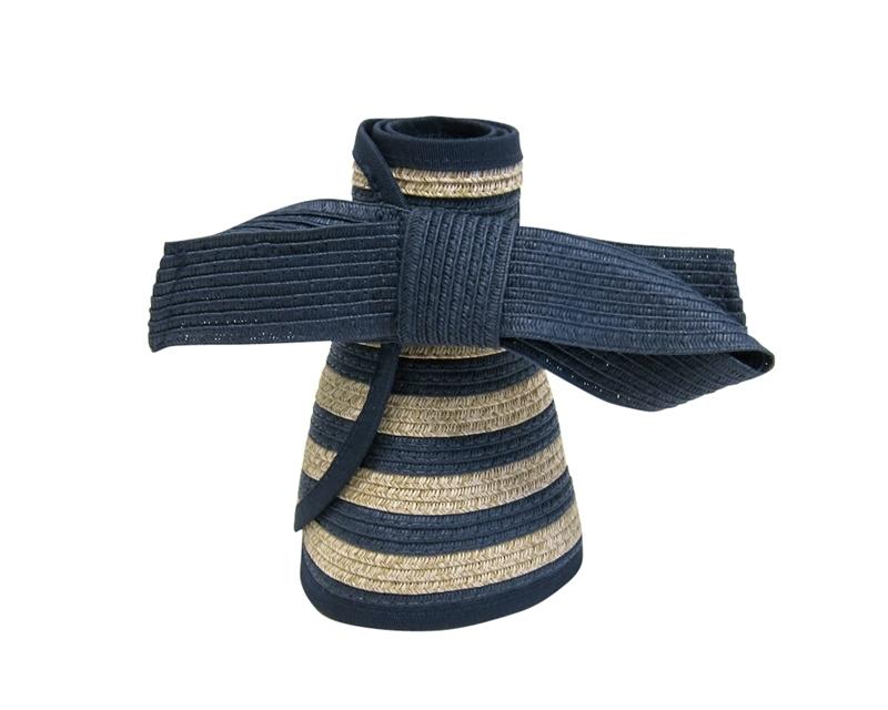 5365f6559a2 SKU  K086 Roll up straw sun visor in nautical navy stripes ...