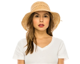 raffia straw hats wholesale - extra fine shapable brim sun hats resort accessories