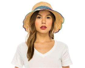 wholesale straw bucket hats - fine raffia crochet straw resort hat