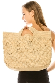 wholesale Fine Raffia Basketweave Beach Tote