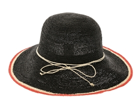 wholesale beach hats - Black/Red Raffia Crochet Hat
