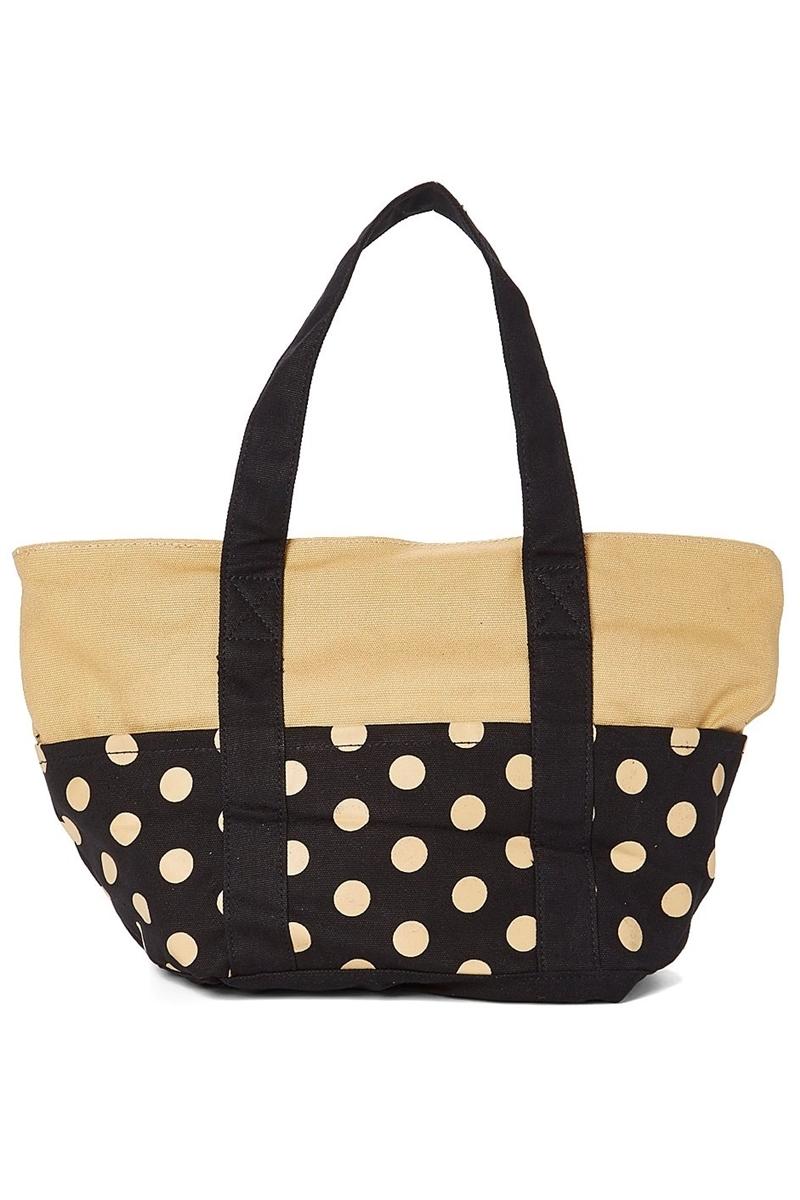 Whole Canvas Tote Bag Polka Dots