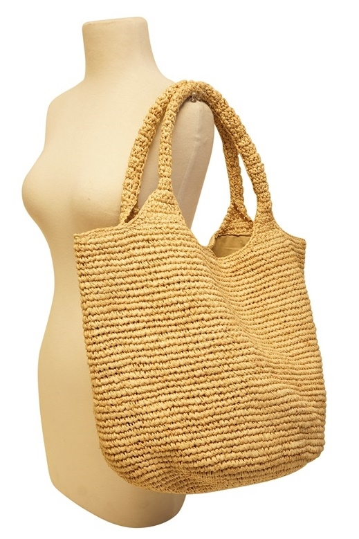 2502S Hand Crocheted Raffia Straw Hobo Bag - Solids