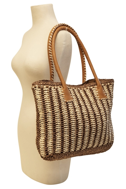 561732c2221 2506 2-Tone Striped Straw Tote Bag