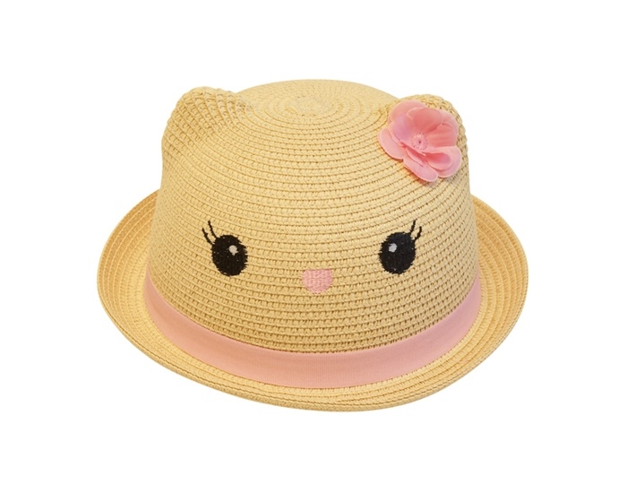 c114d658138 wholesale kids hats - kitty cat hat ears straw white pink natural