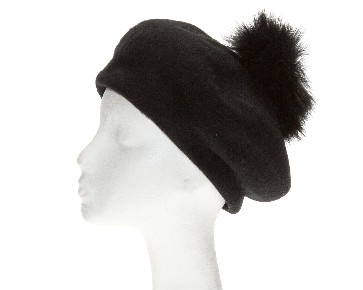 6fb4e73642d37d Wholesale Wool Hats - Winter Berets Women's Hat w Ostrich Pom